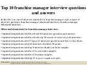 Top 10 franchise manager interview questions and answers