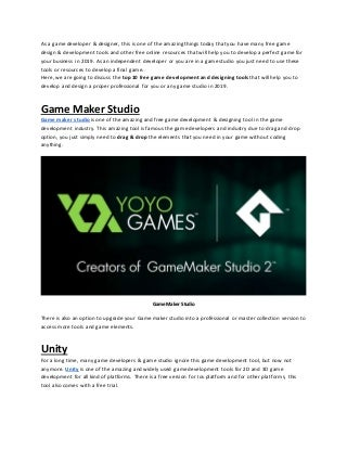 Top 10 free game development and designing tools