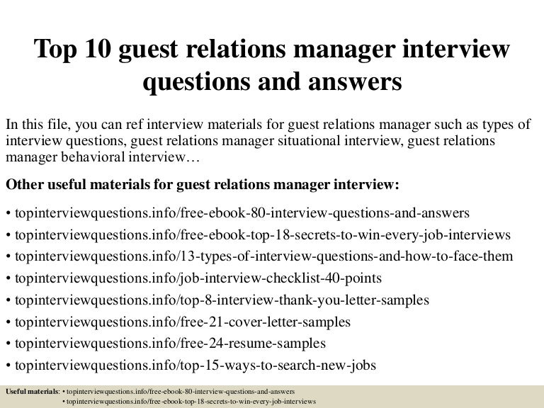 Top 10 guest relations manager interview questions and ...