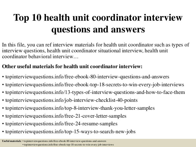 Top 10 health unit coordinator interview questions and answers
