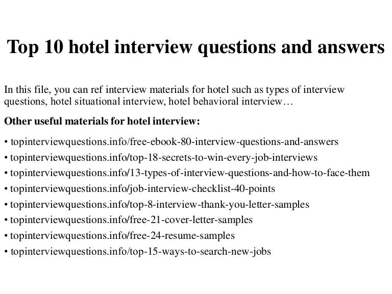Roblox Hilton Hotels Questions Top 10 Hotel Interview Questions And Answers