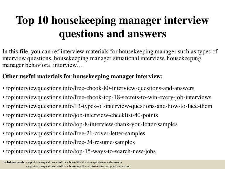 top 10 housekeeping manager interview questions and answers