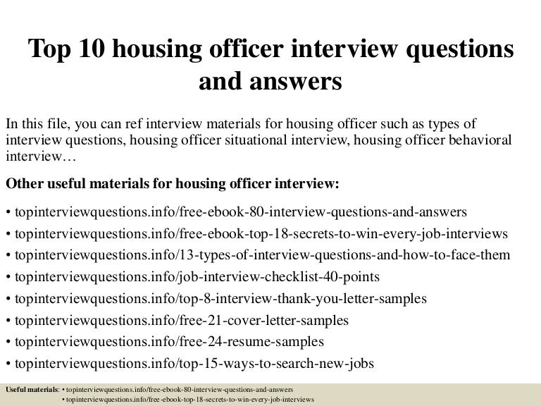 cover letter for housing officer