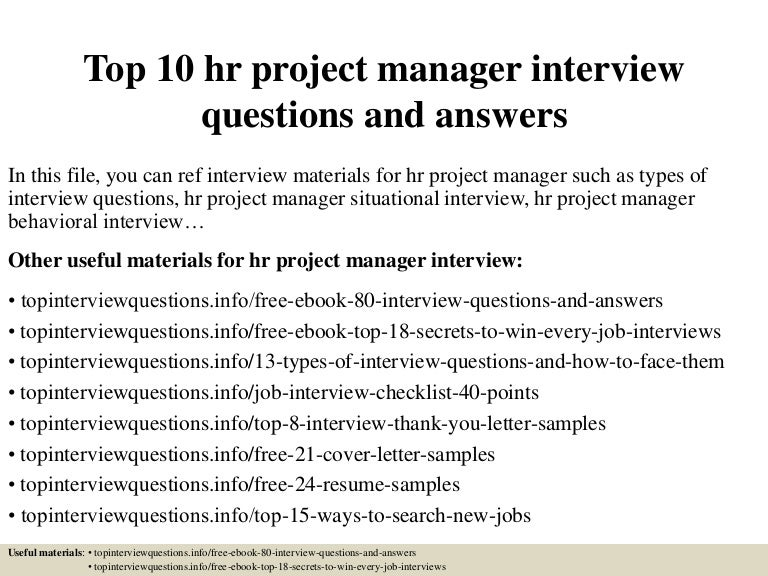 Top 10 Hr Project Manager Interview Questions And Answers