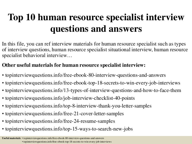 resume examples for human resource specialist