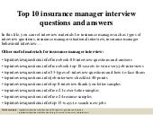 Top 10 insurance manager interview questions and answers