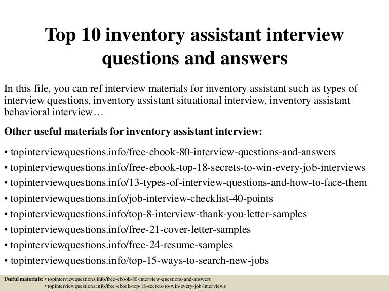 Top 10 inventory assistant interview questions and answers
