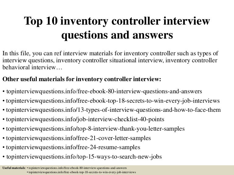 Top 10 Inventory Controller Interview Questions And Answers