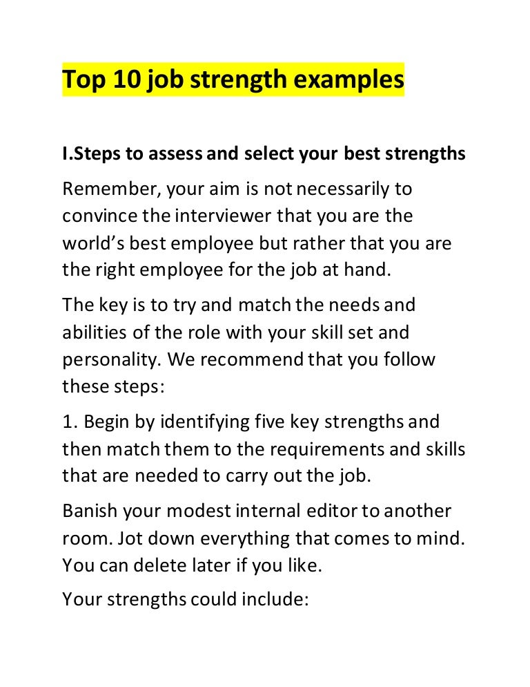 example of strengths