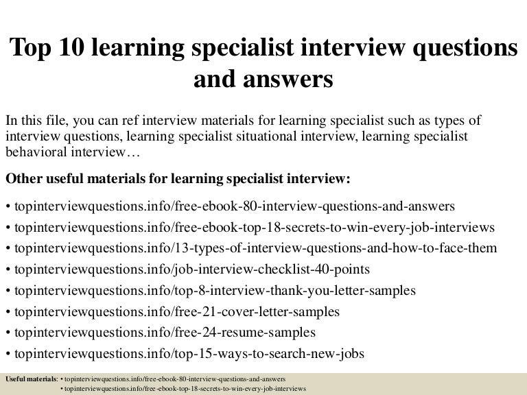 learning specialist job description