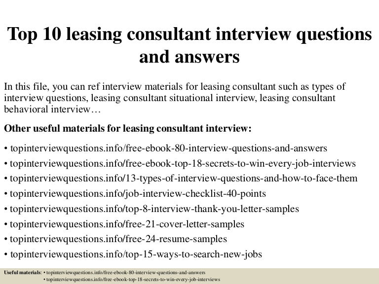 top10leasingconsultantinterviewquestionsandanswers 150405203117 conversion gate01 thumbnail 4jpgcb1428265890 cover letter leasing agent