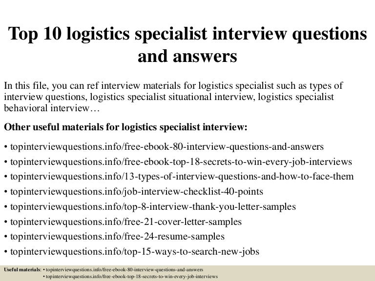Top 10 Logistics Specialist Interview Questions And Answers