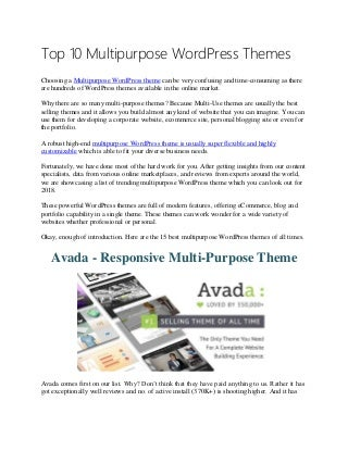Top 10 Multipurpose WordPress Themes