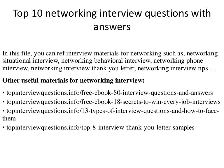 Top 10 networking interview questions with answers