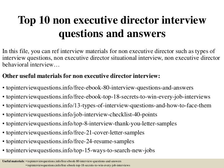 Top10nonexecutivedirectorinterviewquestionsandanswers 150325072035 Conversion Gate01 Thumbnail 4?cbu003d1427286086