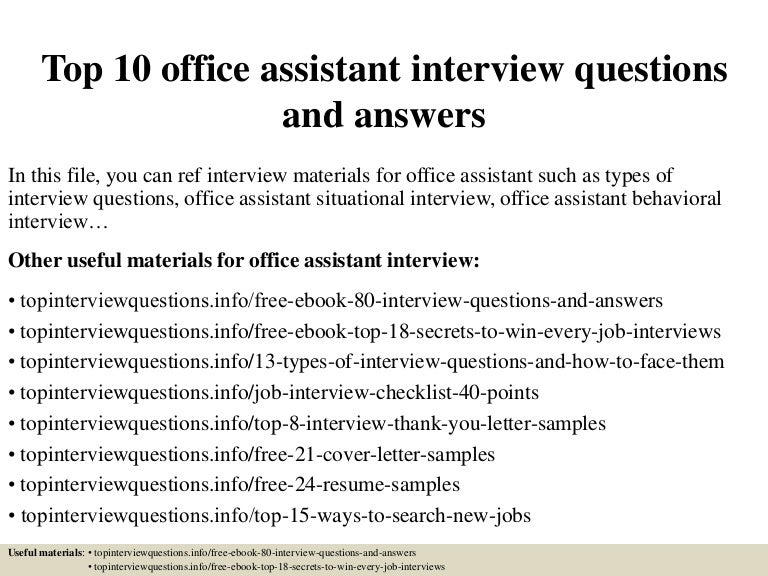 interview questions for office assistant