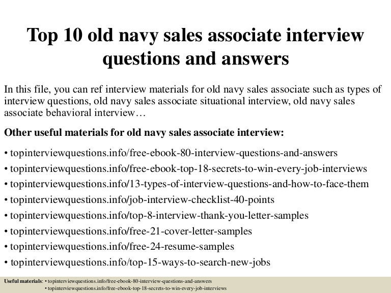 top 10 old navy sales associate interview questions and answers