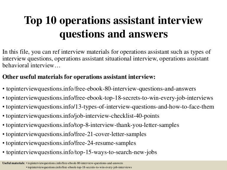Operations Assistant Job Description Sample