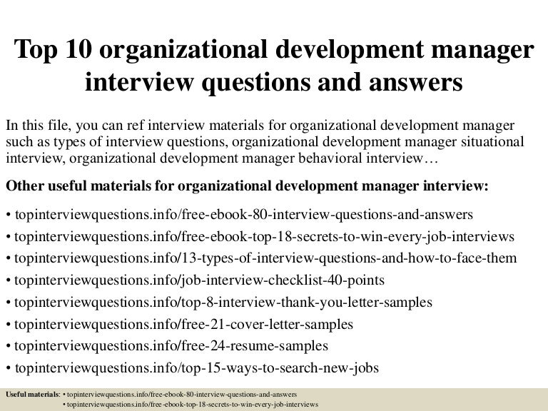 top 10 organizational development manager interview questions and ans