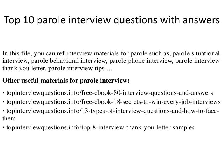 top 10 parole interview questions with answers