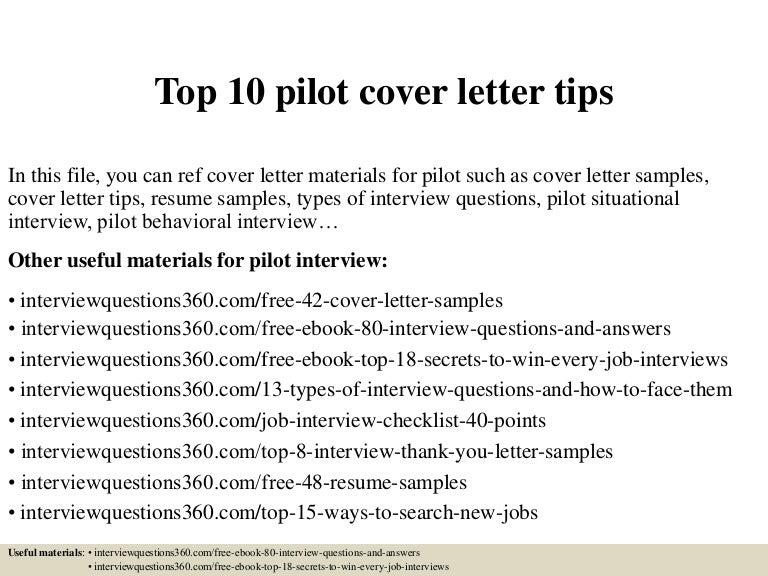 pilot cover letters