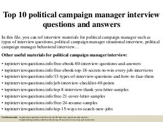 political campaign   linkedintop  political campaign manager interview questions and answers