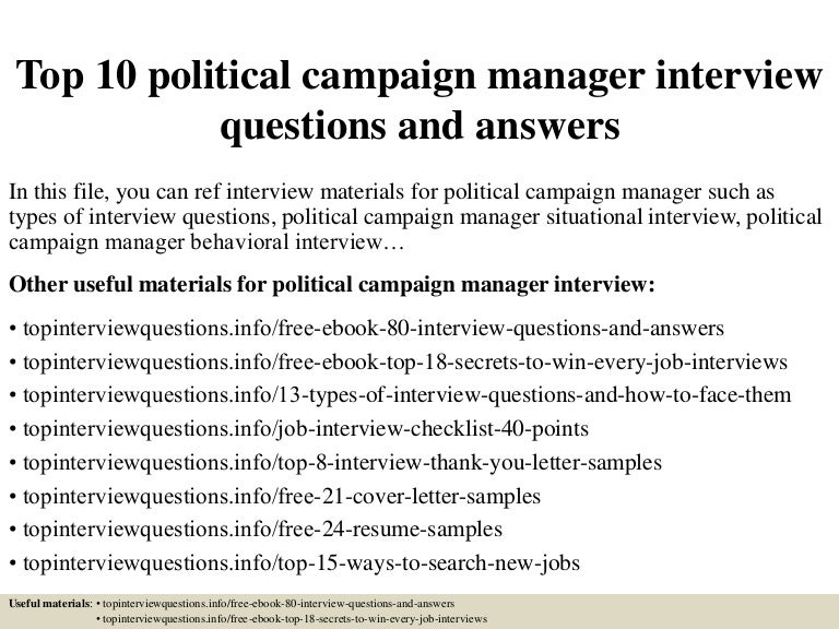 Top10politicalcampaignmanagerinterviewquestionsandanswers 150320205709 Conversion Gate01 Thumbnail 4?cbu003d1426903074
