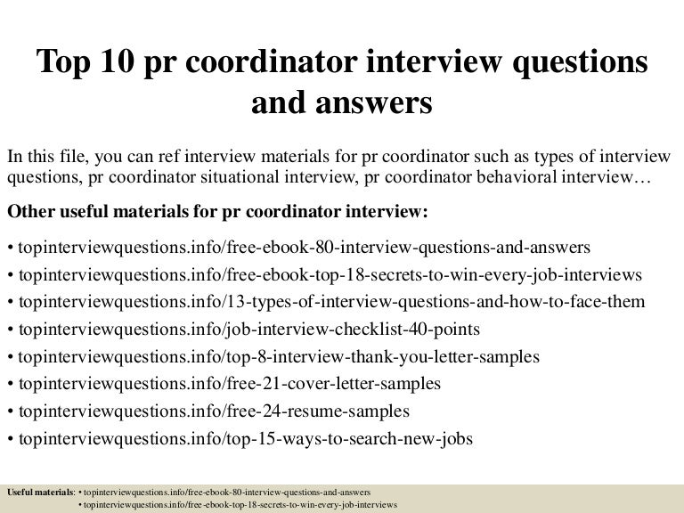 top10prcoordinatorinterviewquestionsandanswers 150318215218 conversion gate01 thumbnail 4jpgcb1426733582 - Executive Coordinator Interview Questions And Answers