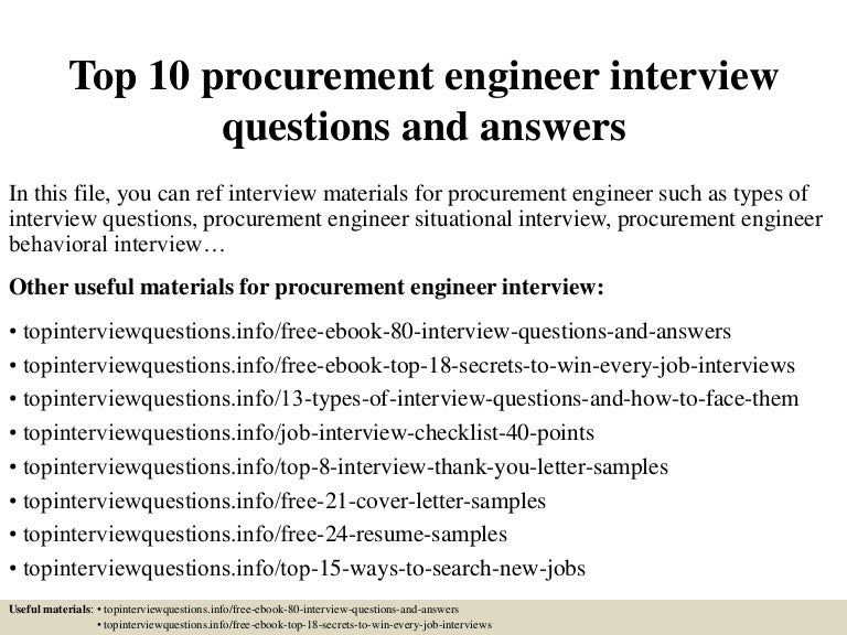 top10procurementengineerinterviewquestionsandanswers 150331222452 conversion gate01 thumbnail 4jpgcb1427858742 - Procurement Engineer Sample Resume