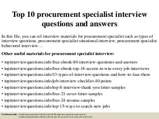 procurement specialist linkedin - Procurement Specialist Cover Letter