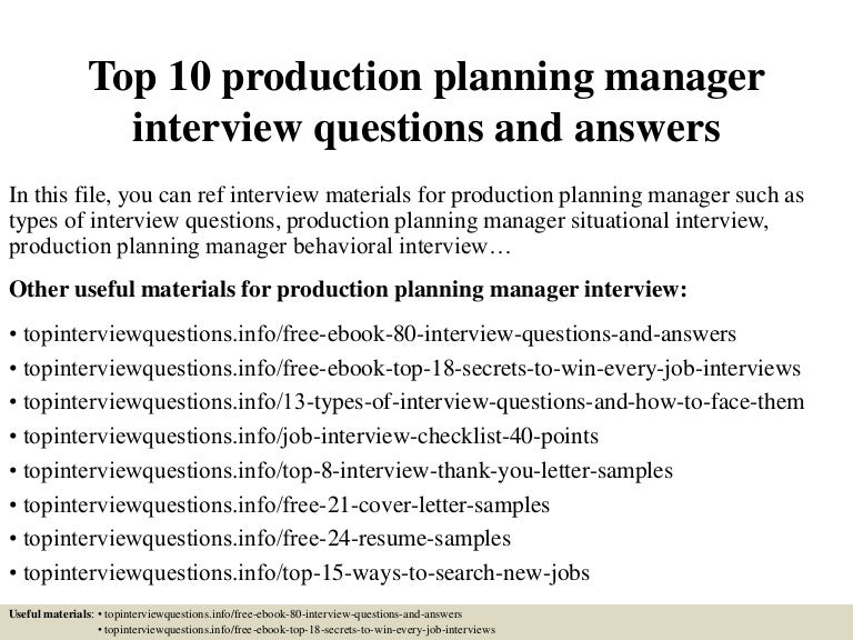 top 10 production planning manager interview questions and