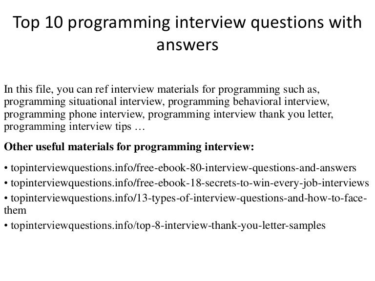 Top  Programming Interview Questions With Answers