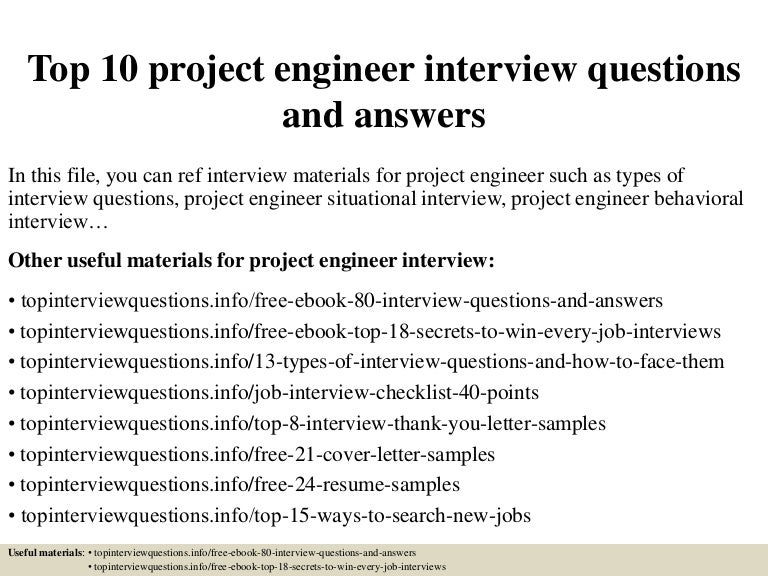Top 10 Project Engineer Interview Questions And Answers Pdf