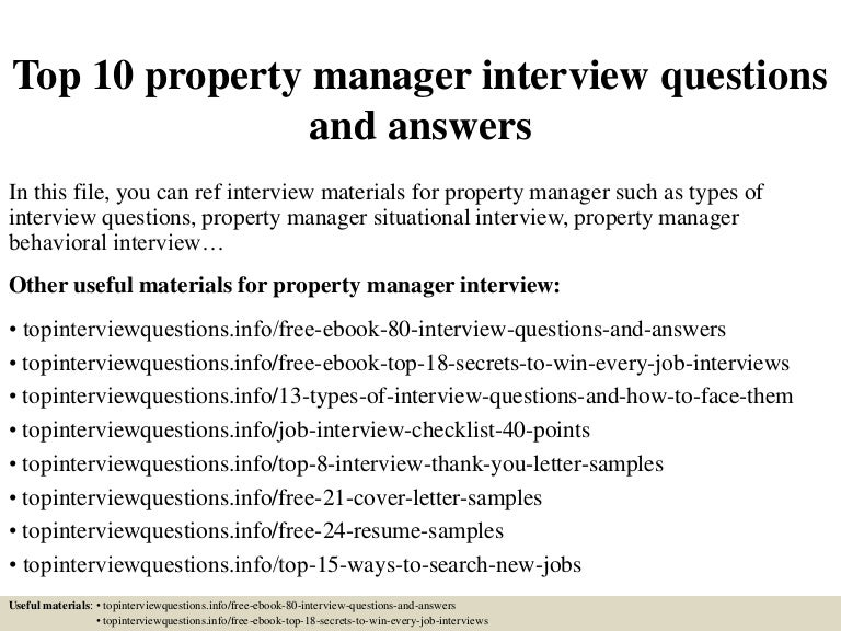Top 10 Property Manager Interview Questions And Answers  Assistant Manager Interview Questions