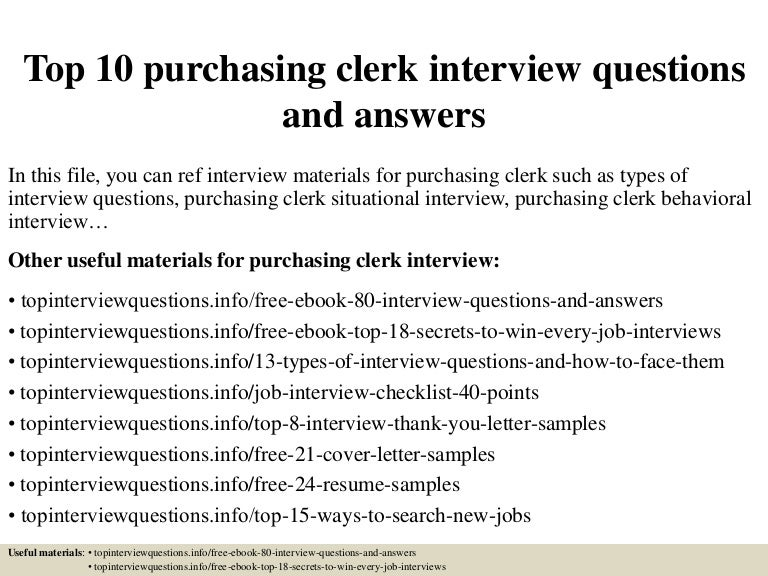 top 10 purchasing clerk interview questions and answers - Purchasing Clerk Sample Resume