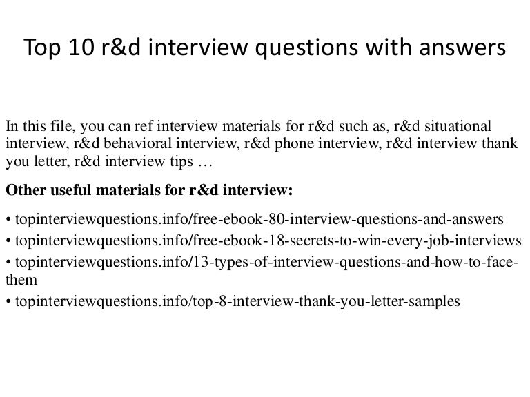 Top 10 R D Interview Questions With Answers
