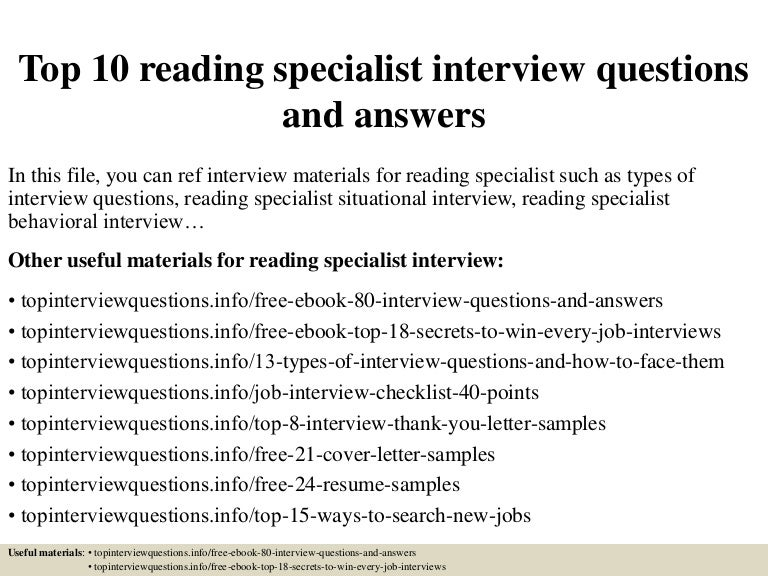 Top 10 reading specialist interview questions and answers fandeluxe Choice Image