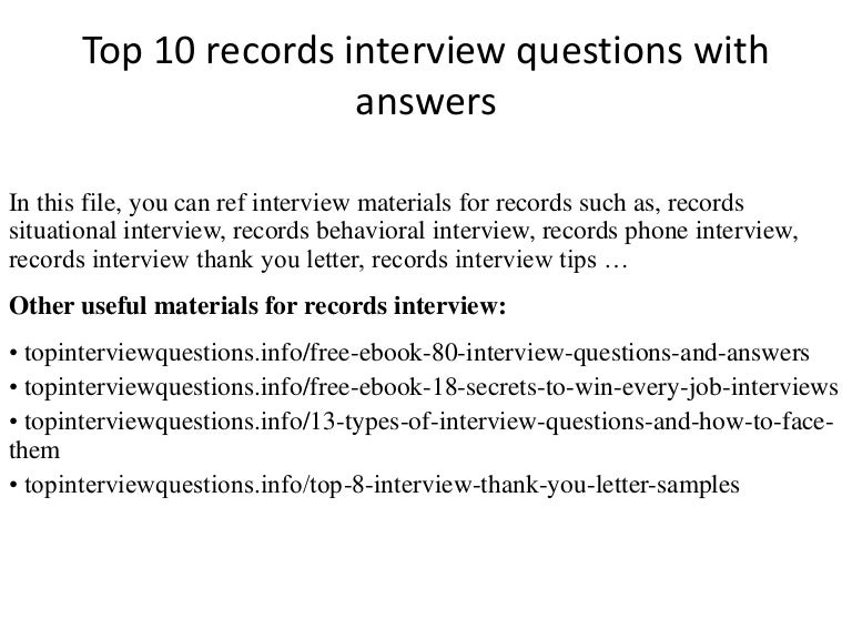 Top 10 Records Interview Questions With Answers