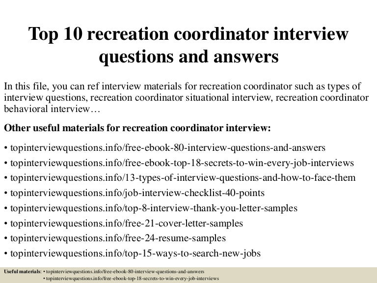 top10recreationcoordinatorinterviewquestionsandanswers 150324074045 conversion gate01 thumbnail 4jpgcb1427200900. Resume Example. Resume CV Cover Letter