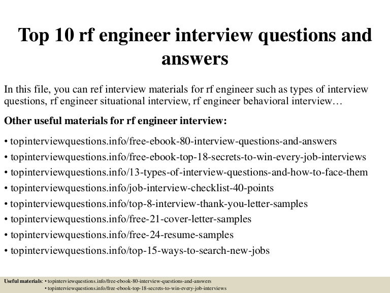 top 10 rf engineer interview questions and answers - Rf Engineer Job Description
