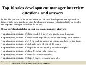 Top 10 sales development manager interview questions and answers