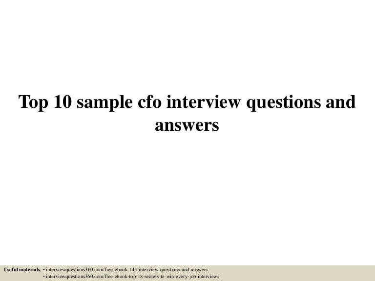 cfo interview questions and answers pdf