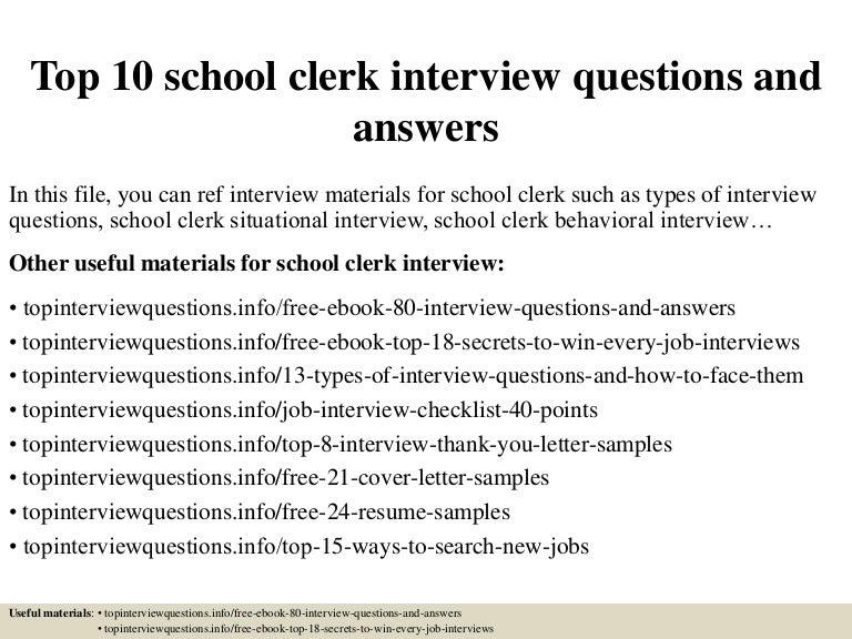 School Clerk | Resume CV Cover Letter