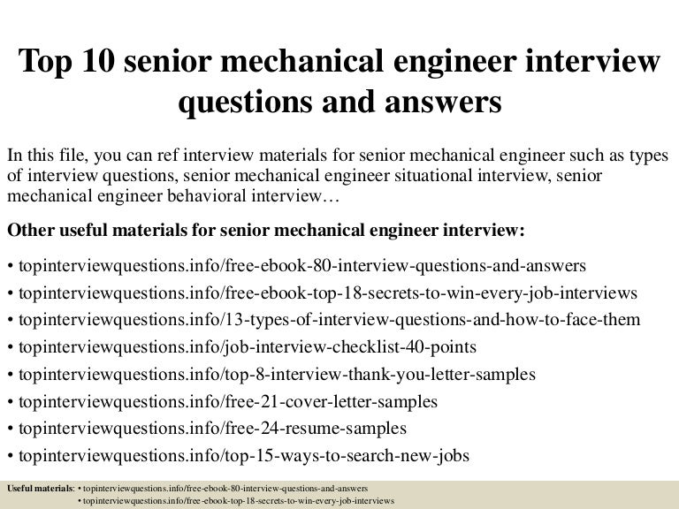 20 mechanical engineer interview questions for 2019.