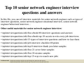 network engineer   linkedintop  senior network engineer interview questions and answers