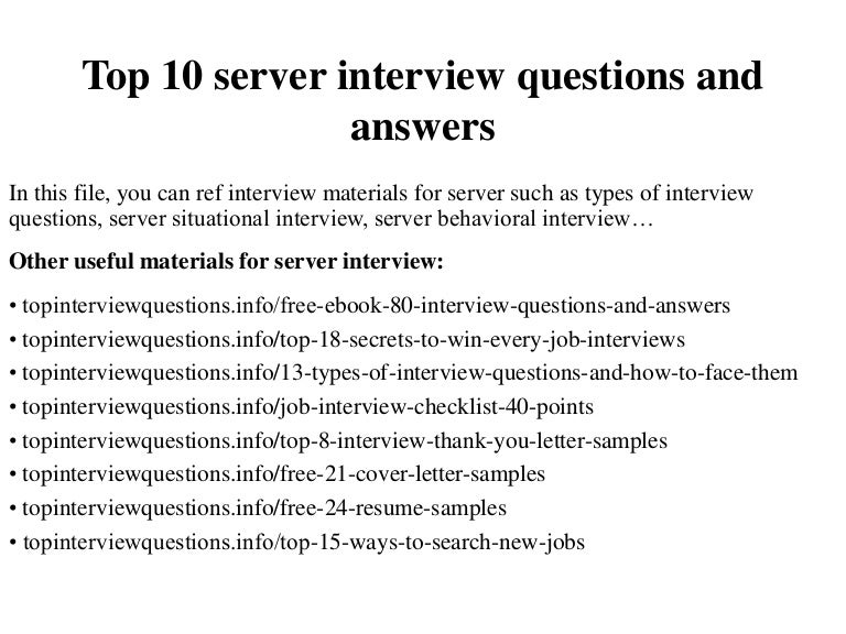 Delightful Interview Questions For Servers  Interview Questions For Servers