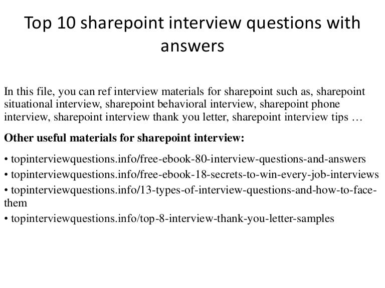Top 10 sharepoint interview questions with answers