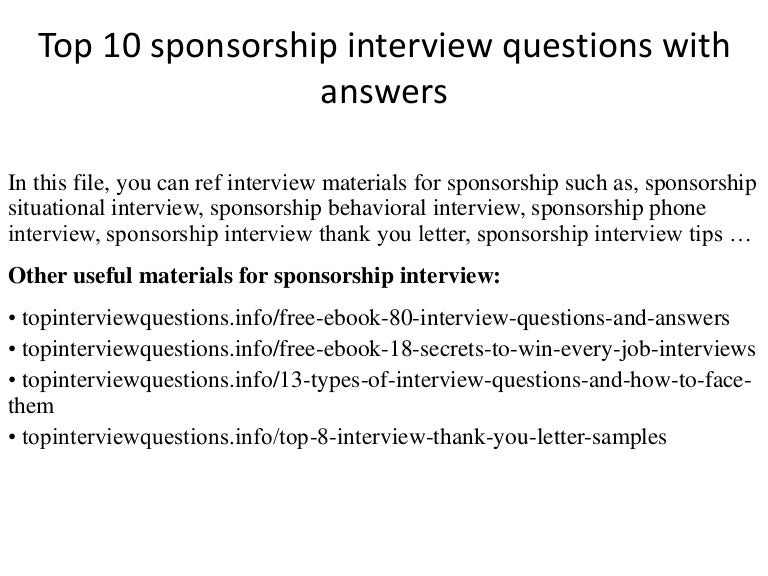 Top  Sponsorship Interview Questions With Answers