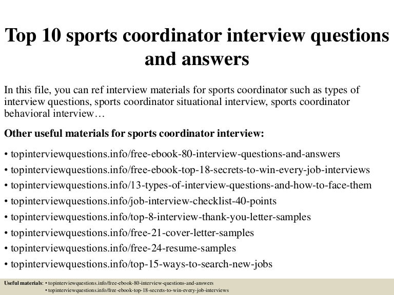 top 10 sports coordinator interview questions and answers