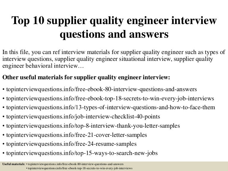 top 10 supplier quality engineer interview questions and